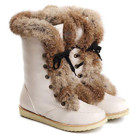 Trendy Flat Heel and Lace-Up Design Mid-Calf Boots For Women - OFF WHITE 38