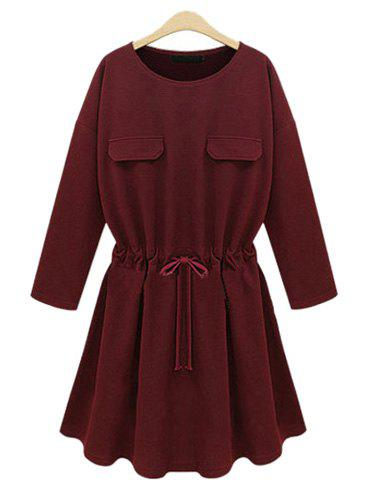 Chic Round Neck Long Sleeve Waist Drawstring Pure Color Women's Dress - WINE RED 2XL