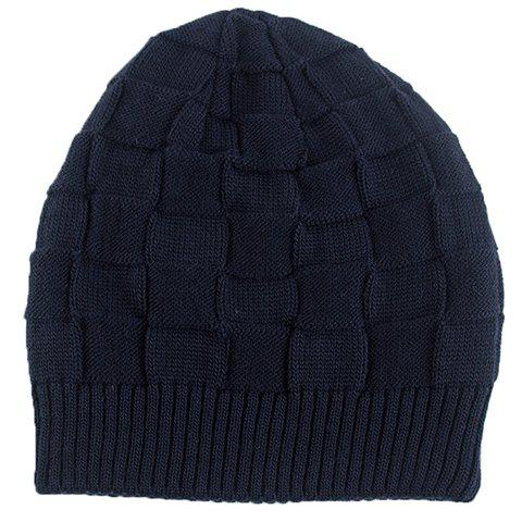 Stylish Solid Color Plaid Shape Knitted Beanie For Men - PURPLISH BLUE