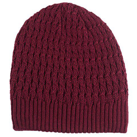 Stylish Solid Color Crochet Knitted Beanie For Men - WINE RED
