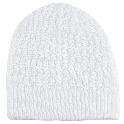 Stylish Solid Color Crochet Knitted Beanie For Men - WHITE