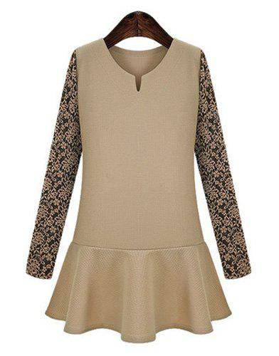 Chic V Neck Long Sleeve Lace Design Flounced Women's Dress - KHAKI 4XL