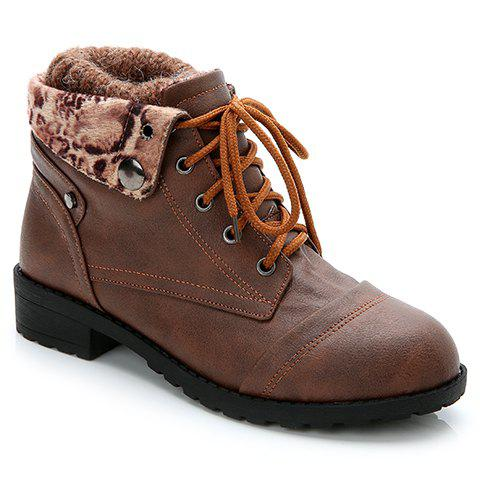 Simple Lace-Up and Stitching Design Women's Sweater Boots - DEEP BROWN 35