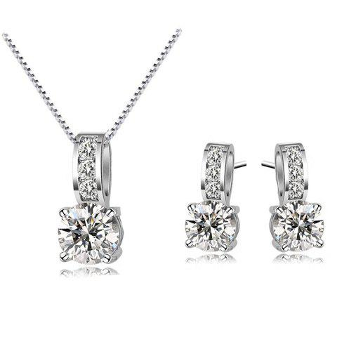 A Suit of Faux Crystal Zircon Necklace and Earrings - WHITE GOLDEN