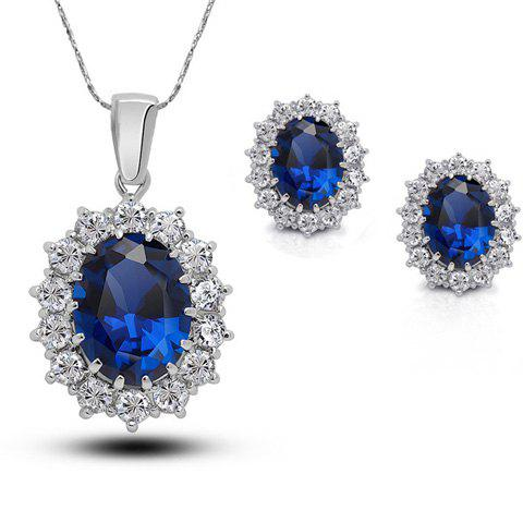 A Suit of Chic Faux Crystal Rhinestone Oval Necklace and Earrings For Women - SAPPHIRE BLUE