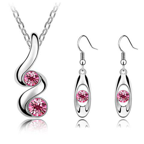 A Suit of Charming Faux Crystal Necklace and Earrings For Women - PINK
