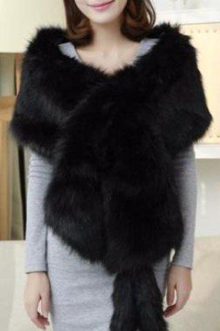 Elegant Women's Solid Color Faux Fur Cape