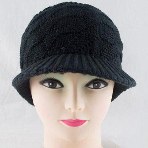 Chic Rhombus Shape and Open Top Design Knitted Visor For Women
