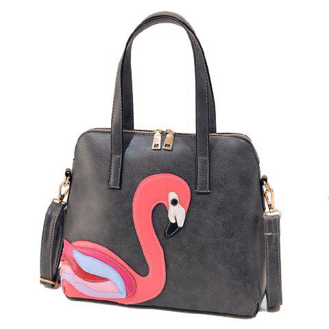 Simple Goose Pattern and PU Leather Design Tote Bag For Women - DEEP GRAY