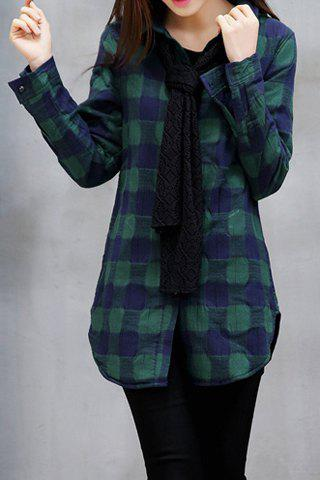 Preppy Style Plaid Polo Collar Detachable Tie Long Sleeve Blouse For Women - GREEN L