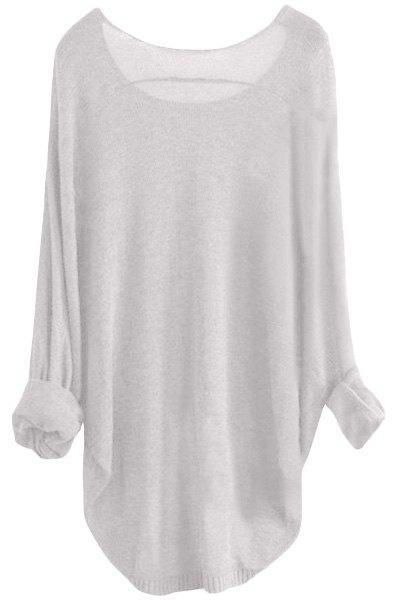 Women's Scoop Neck Asymmetrical Long Sleeve Sweater - WHITE S