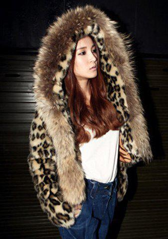 Stylish Women's Hooded Long Sleeve Leopard Faux Fur Coat - BROWN L