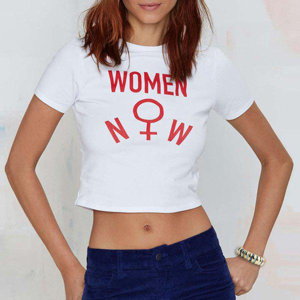 Cute letter printed round collar cropped t shirt for women for Cropped white collared shirt