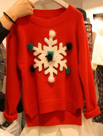 Cute Round Neck Long Sleeve Snowflake Pattern Women's Sweater - RED ONE SIZE(FIT SIZE XS TO M)