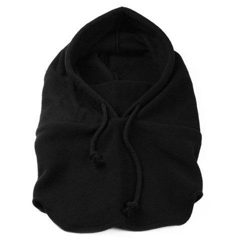 Stylish Lace-Up Solid Color Men and Women's Winter Outdoor Fleeces Hat - BLACK