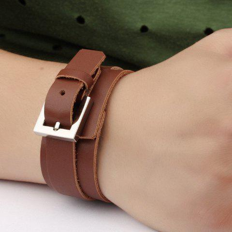 Vintage Double-Layered Faux Leather Belt Bracelet For Men - BROWN