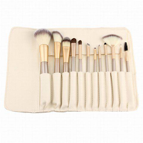 12 Pcs Makeup Brushes Set With Brush Bag - GOLDEN