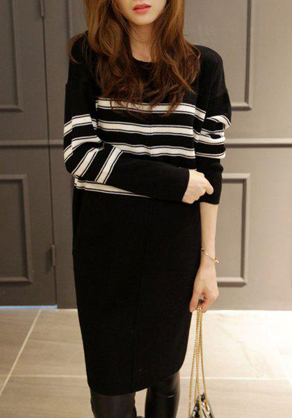 Striped Round Neck Long Sleeve Sweater Dress For Women - BLACK 2XL