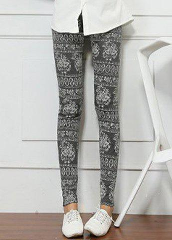 Stylish Elastic Waist Printed Slimming Women's Ninth Leggings - DEEP GRAY ONE SIZE(FIT SIZE XS TO M)
