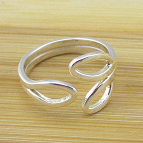 Chic Solid Color Hollow Out Leaf Cuff Ring For Women - SILVER
