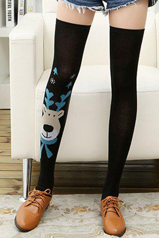 Pair of Chic Cartoon Deer Head Pattern Women's Stockings