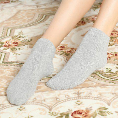 Pair of Chic Solid Color Women's Knitted Socks - LIGHT GRAY