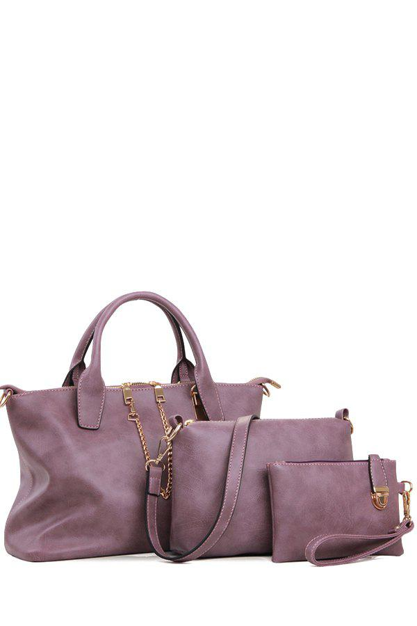 Concise Chains and Solid Color Design Women's Tote Bag - PURPLE