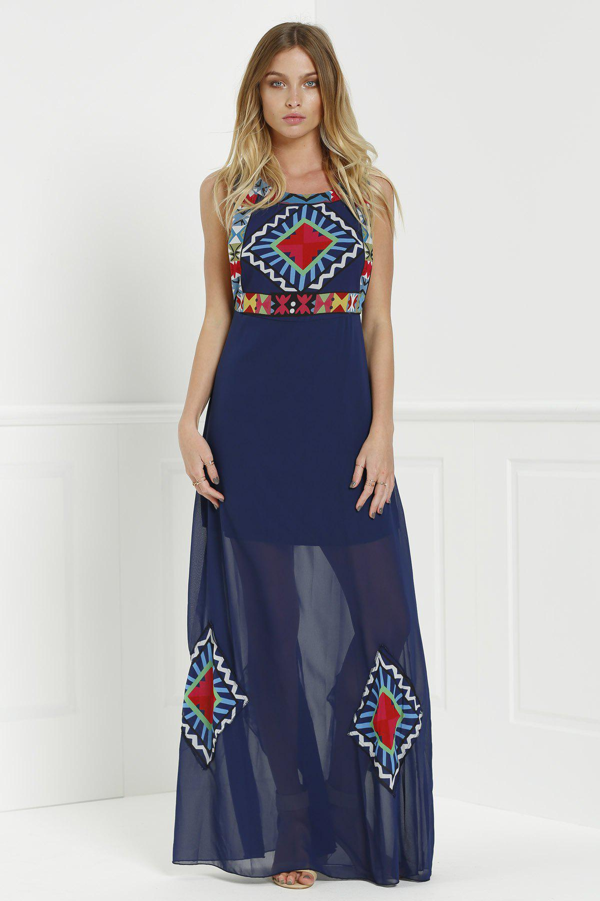 Bohemian Style Jewel Neck Floral Print Color Block Sleeveless Maxi Dress For Women - PURPLISH BLUE M