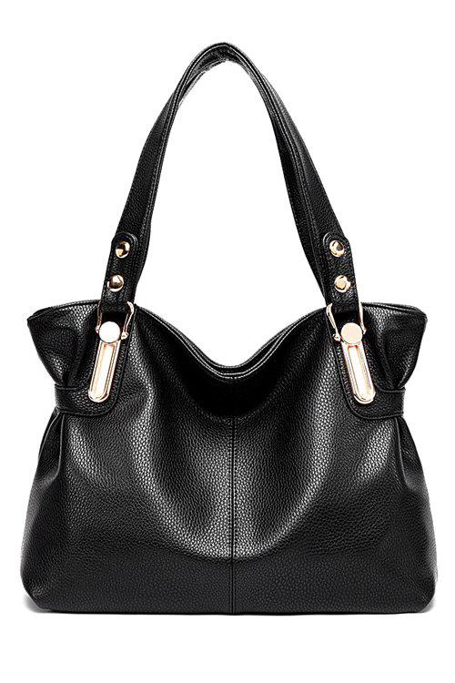 Concise Solid Colour and Metal Design Women's Shoulder Bag - BLACK