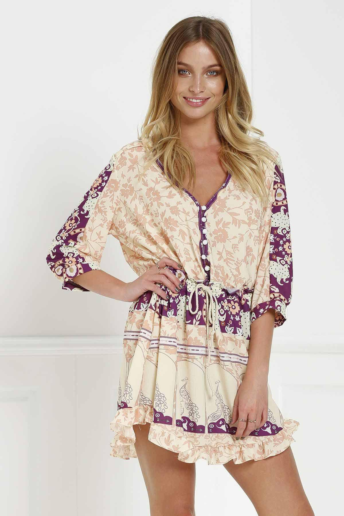 Stylish V-Neck 3/4 Sleeve Floral Print Loose-Fitting Women's Tunic Dress - COLORMIX XL