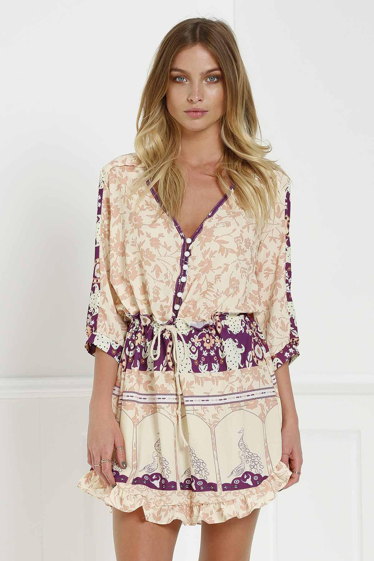 Stylish V-Neck 3/4 Sleeve Floral Print Loose-Fitting Women's Tunic Dress - COLORMIX L