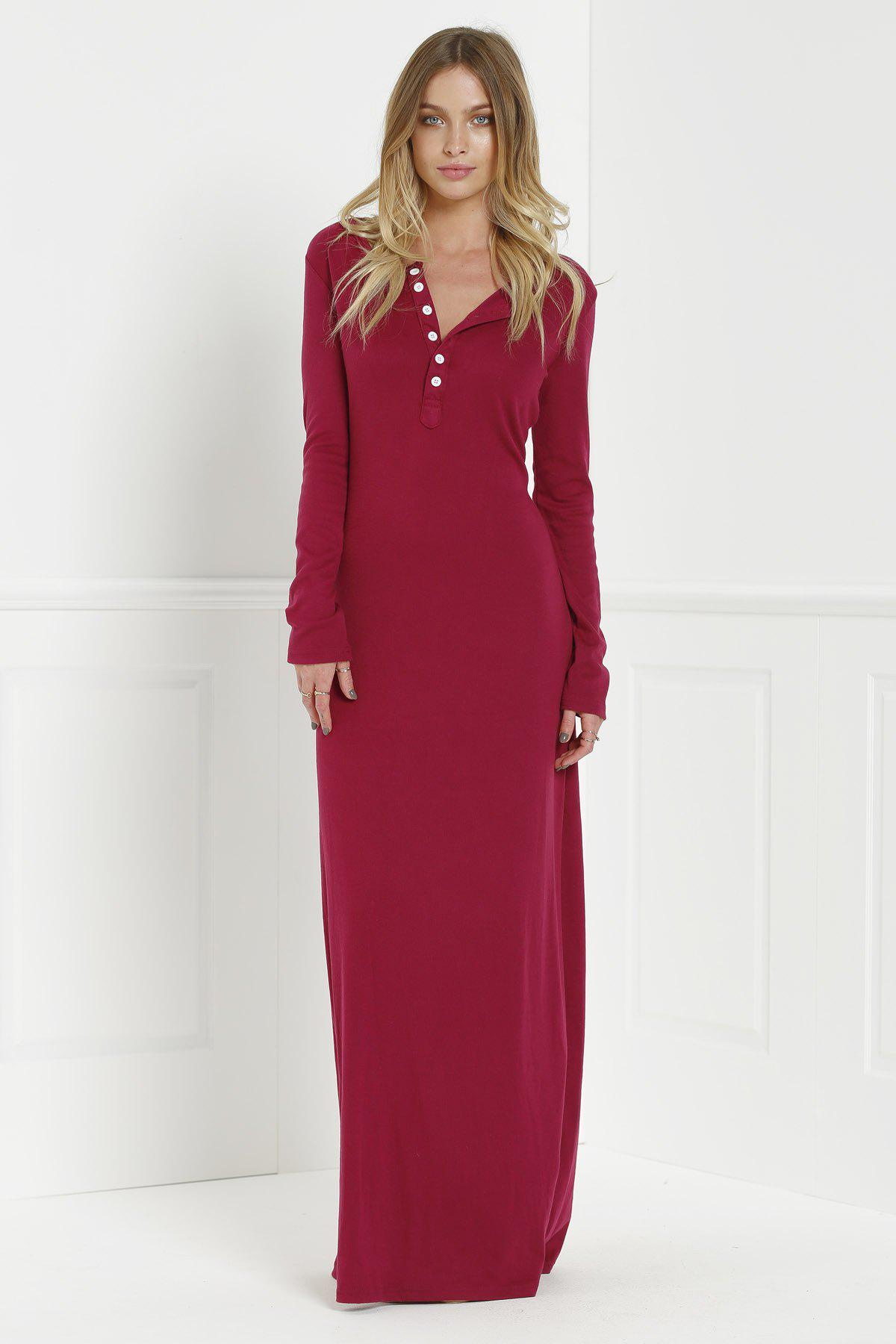 El Topo Dress - WINE RED L