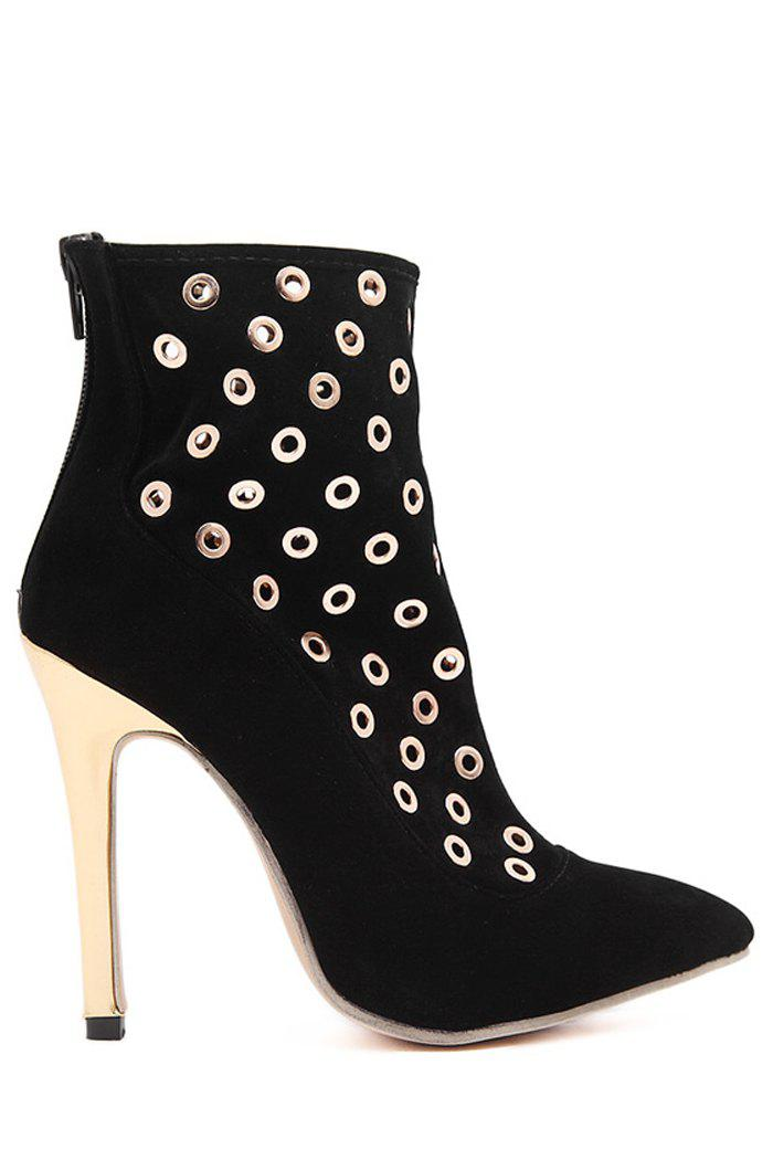 Party Pointed Toe and Hollow Out Design Women's Short Boots - BLACK 37
