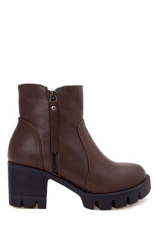 Simple Zippers and Chunky Heel Design Women's Short Boots - DEEP BROWN 35