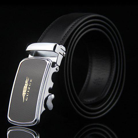 Stylish Crocodile and Letters Design Covered Edge Auto Buckle Belt For Men - BLACK