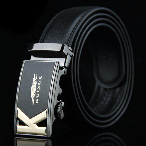 Stylish Hollow Out Letter K and Crocodile Design Auto Buckle Belt For Men - BLACK