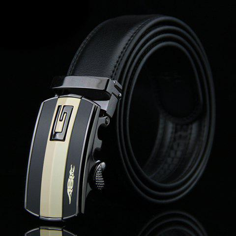 Stylish Letter G Shape and Crocodile Design Auto Buckle Belt For Men - BLACK