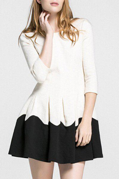 Stylish Jewel Neck 3/4 Sleeve Spliced Women's Dress