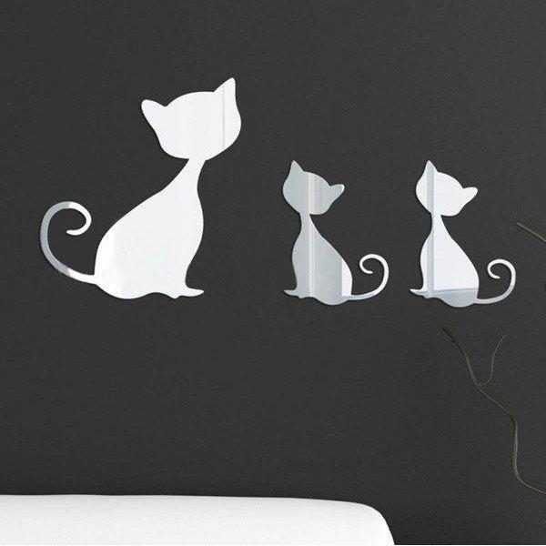 High Quality Removeable Kitten Shape DIY 3D Mirror Wall Sticker 12pcs high quality butterfly shape removeable 3d wall sticker