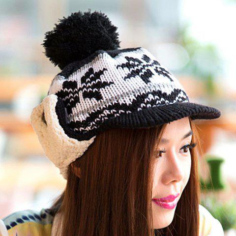 Fashionable Flower Pattern and Fuzzy Ball Embellished Women's Knitted Baseball Cap - BLACK