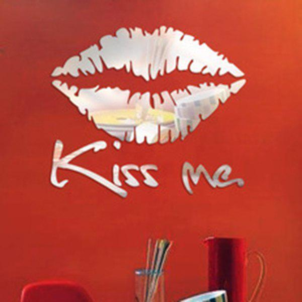 High Quality Removeable Lip Shape DIY 3D Mirror Wall Sticker - SILVER
