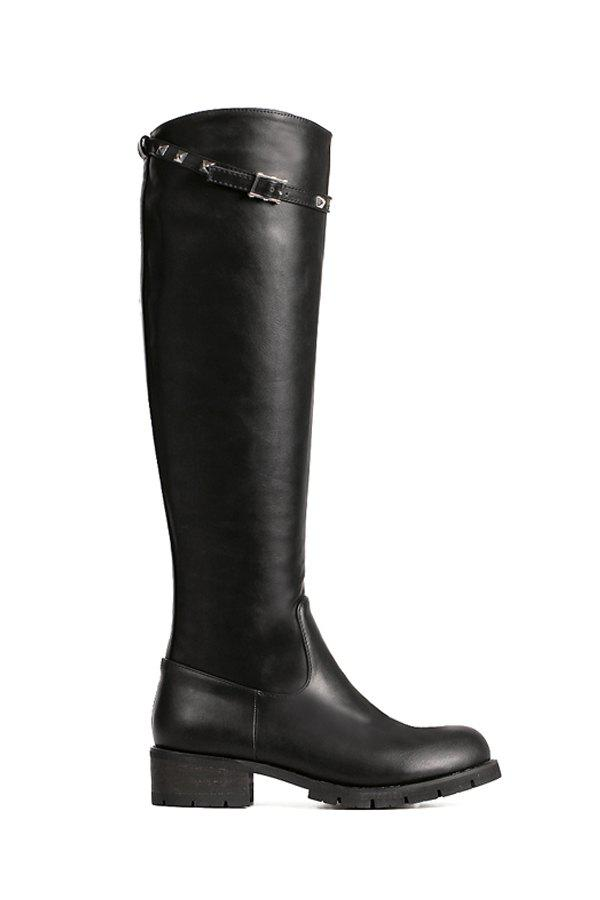 Trendy Rivet and Buckle Design Women's Knee-High Boots - 38 BLACK