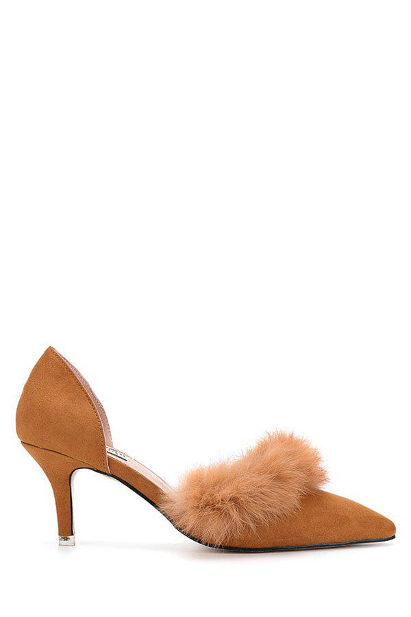 Stylish Faux Fur and Pointed Toe Design Women's Pumps - BROWN 38