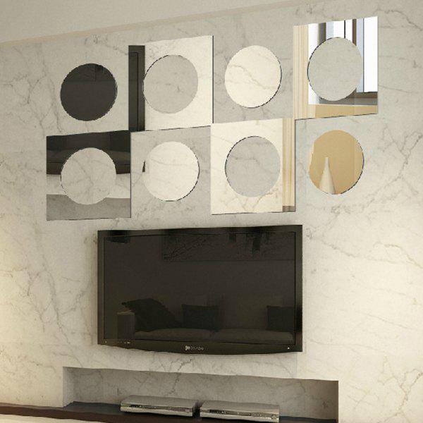 Stylish Removeable Square and Circle Shape Hollow Out 3D Mirror Wall Sticker - SILVER