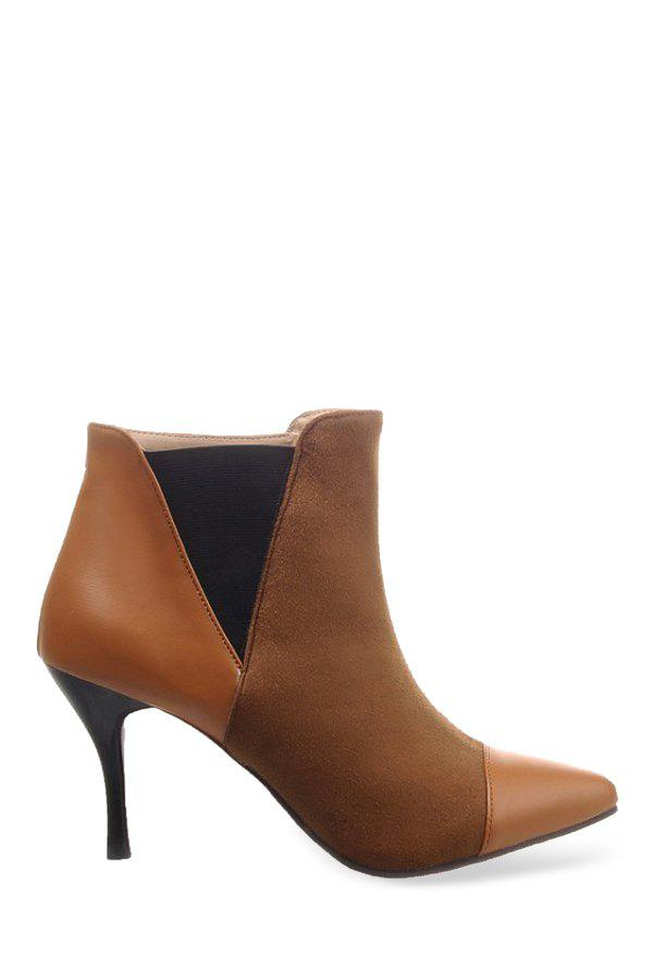 Office Lady Pointed Toe and Splicing Design Women's Ankle Boots - BROWN 39