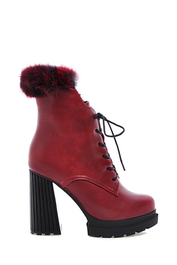 Trendy Faux Fur and Solid Color Design Women's High Heel Boots - RED 36
