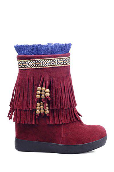 Ethnic Style Fringe and Suede Design Women's Snow Boots - WINE RED 37