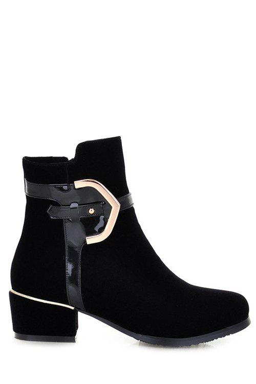 Stylish Round Toe and Metal Design Women's Short Boots - BLACK 35