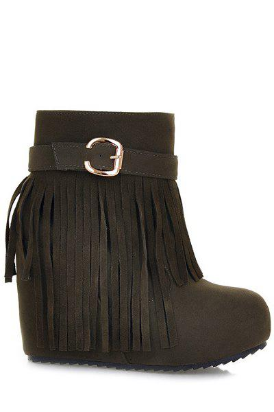 Trendy Wedge Heel and Fringe Design Women's Short Boots - ARMY GREEN 38