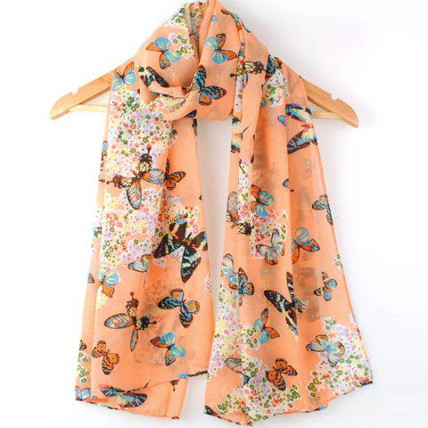 Stylish Butterfly Print Candy Color Scarf For Women -